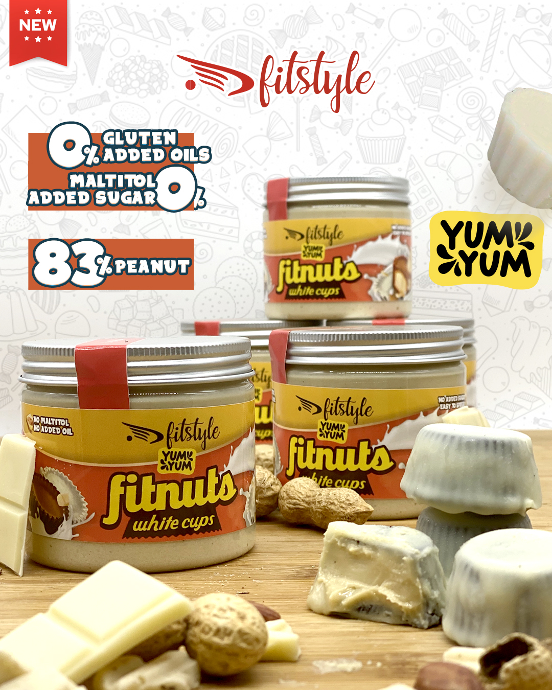 FITnuts White Cups 200g FITSTYLE